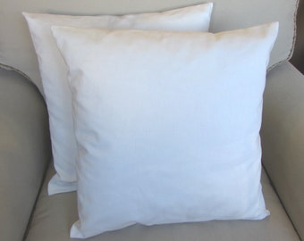 20 inch pair of white organic cotton pillow covers