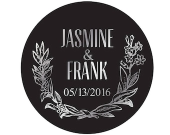 Set Personalized Custom Vintage Wreath Wedding Names Thank You stickers for wedding favor with gold / sliver text