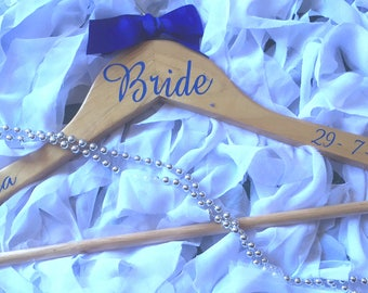 Wedding hanger decals for bridesmaid, groomsman and all the bridal party.  DIY Bridal hanger decals in a choice of colours and font styles