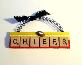 Chiefs Football Scrabble Tile Ornaments