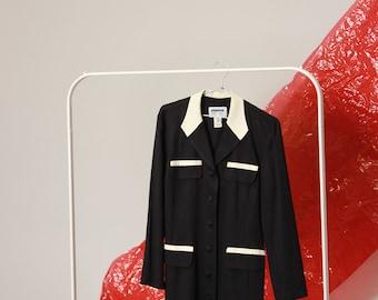 80s Black Suit Dress / L Large
