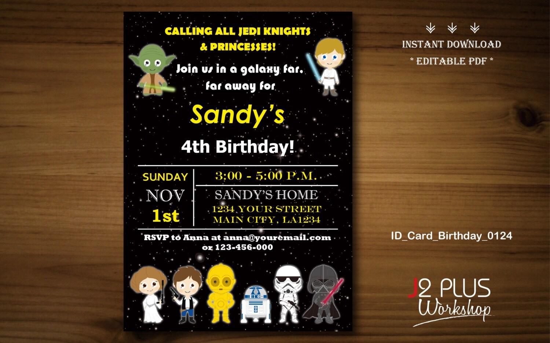 Instant download star wars birthday invitation card star zoom filmwisefo