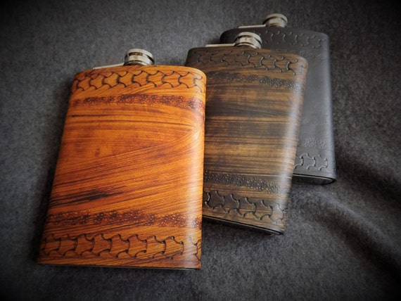 Viking Leather Flask - Viking Border Design - 8 oz Flask
