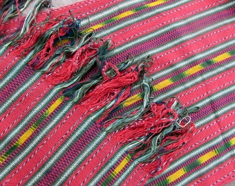 Guatemalan Hand Woven Textile in Red, Green, and Yellow - Natural Dyes