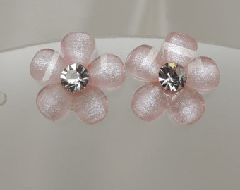 Pink Flower Post Earring