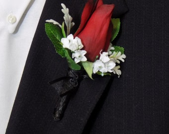 Boutonniere - Red Silk Rose Flower Boutonniere - Floral Boutonniere - Prom Boutonniere - Wedding Boutonniere