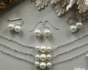 SET of 7 bridesmaid pearl necklace earring, bridesmaid necklaces, bridesmaids gift wedding jewelry white ivory pearl custom color W006S