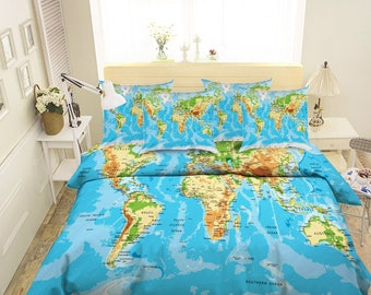 Map duvet cover etsy 3d world map 89 bedding bed pillowcases quilt duvet cover gumiabroncs Choice Image