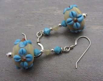 Lampwork Earrings Blue Flower Earrings Glass Bead Earrings Dangle Drop Earrings SRAJD USA Handmade