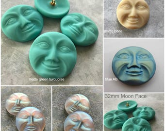 Choice of 32mm LARGE Moon Face Buttons, Moon Face, 32mm, Moon Face Buttons, Man in the Moon, Moon, Glass Buttons, Czech Glass Buttons, Butto