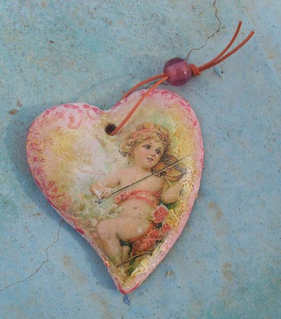 ANGEL HEART-  Angel Heart Decor - Angel Heart Gift - Ceramic Heart  - Ceramic - Ceramic Pottery - Home Decor - Home Decoration
