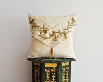 Beaded Applique Silk Pillow Cover - Decorative Pillow Cover - Decorative Applique Pillow, Spring Home Decor Cushion
