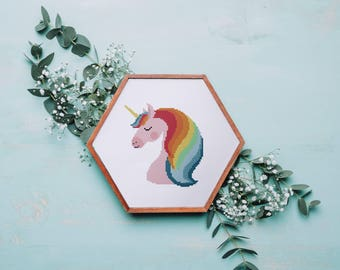 Lovely Unicorn cross stitch pattern, funny nursery fairy animal counted cross stitch design, instant download easy diy baby room decor