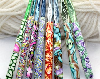Polymer clay crochet hook set of 8, New Boye hook set, Sizes D/3 through K/10.5, handmade designs, ready to ship
