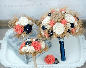 Wedding Flowers - Coral Orange + Navy // Bridal Bouquet Burlap Wedding Bouquet Bride Bridesmaid Rustic Dried Flowers Wedding Bouquet Set