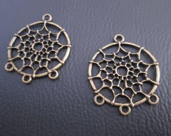 Media earrings, dream catcher pendants bronze x 2