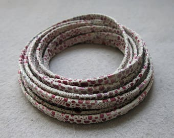 Pink flat leather cord 5 mm