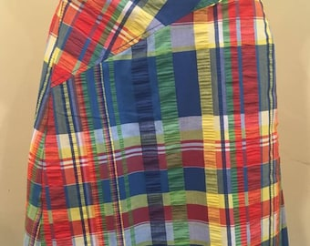 Adorable A-line Wrap Skirt, 1970s Madras