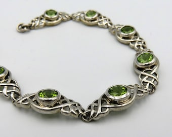 Vintage 925 Sterling Silver and Faceted Peridot Gemstone Celtic Knot Bracelet