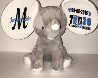 Custom birth announcement-memorial - keepsake elephant