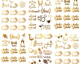 Bachelorette Team Bride Temporary Tattoos 100+ Metallic Tattoos Bride Tribe Party Favors Supplies Accessories 6 Sheet Gold Silver