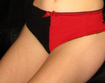 Red and Black  Lacey Harlequin Boy- Short, hot-pants
