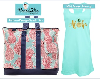 Southern Pineapple Summer Beach Bag & Cover-Up Set