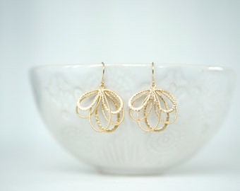 Matte Gold Fan Earrings