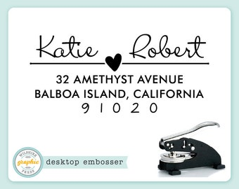 Embosser - KATIE Style - Desk Model - Personalized Return Address - Couples Heart Embossing Stamp Seal - Bridal Wedding Housewarming Gift