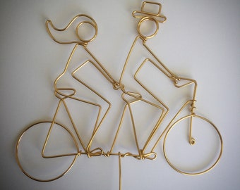 GOLD Extra SMALL Silhouette Tandem Riders Wedding Cake Topper (not personalized)