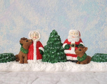 Handpainted Plaster Candle Holder, Santa and Mrs. Claus