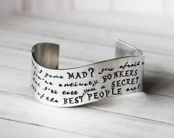 Alice in Wonderland Have I Gone Mad Cuff Bracelet - Hand Stamped inspired jewelry quote bracelet - Alice in Wonderland Jewelry