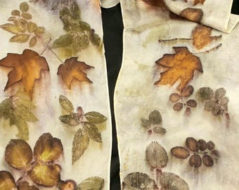 """Ecoprinted Silk Scarf, All Natural Design with rose, maple & oaks by Artist, Wallhanging, sustainable art 8"""" x 72"""" 127C, Free USA shipping"""