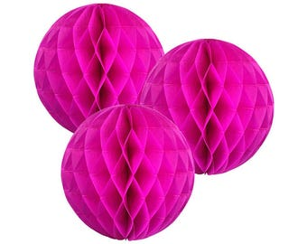 Just Artifacts Tissue Paper Honeycomb Ball (Set of 3, Magenta)