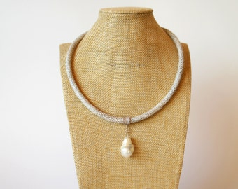 Necklace with pearl necklace baroque breeding pearl eco wild leather Strap Dotprint Metallspacer