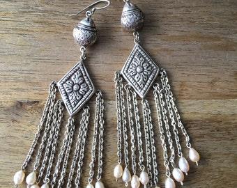 Pearl Earrings, Sterling Silver Earrings, Cultured Pearl Earrings, Bridal Earrings, Freshwater Pearl 925 Sterling Silver Chandelier Earrings