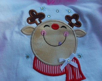 Girl Reindeer Shirt tshirt- Christmas Shirt - Reindeer Shirt tee shirt - Girls Christmas Shirt - Holiday Shirt - Reindeer- Santa - Christmas