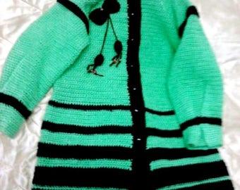 Knitted coat for  girls.    Вязаное лёгкое пальто для девочки.