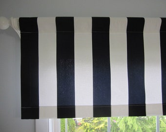 Wide Stripe Curtain, Navy Blue and White Cabana Stripe Curtain Valance 50 x 16