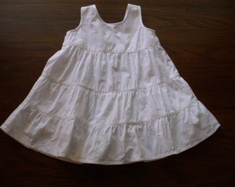 Vintage Baby Dress, Cotton Eyelet Baby Dress, Baby Pinafore,  Baby Clothes, Embroidered Baby Dress, 1950's Baby Dress,  Cotton Baby Dress,