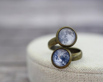 Planet Ring, Solar System Ring, Earth and Moon Ring, Double Planet Ring, Space Ring, Galaxy, Space Jewelry, Astronomy, Science, Galaxy Ring