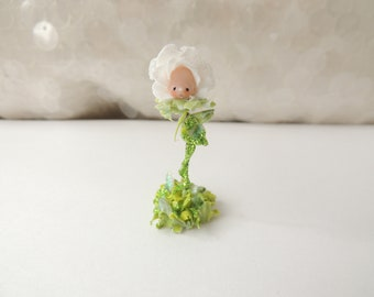 Singing White Rose Wee Miniature Figurine For the Alice in Wonderland Collector in you!