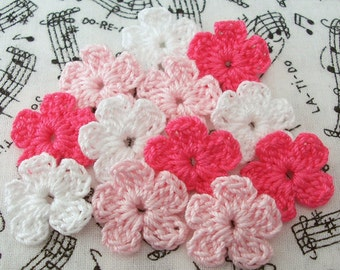 Crochet Pink and White, Flowers Mini Flowers, Crochet Flower Appliques
