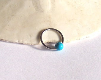 """Captive Bead Ring  ONE 16 Gauge - Rose or Yellow Gold - Sterling Silver - 5/16"""" 3/8"""" CBR Turquoise Tragus Helix Rook Cartilage Daith Snug"""