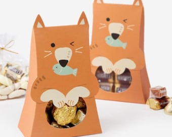 Fox Kitsune Candy Gift Boxes Blue Pink Baby Shower Birthday Party Wedding Anniversary Strawberry Treat Box Chocolate Party Favors Candies
