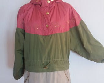 Vintage Haki/Orange 90s Outdoor Track Jacket Size Large to XLarge