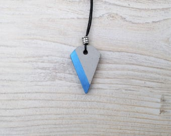Geometric concrete pendant with blue-metallic color and metallic bead, minimalist pentagonal concrete necklace with black cord, gift for her