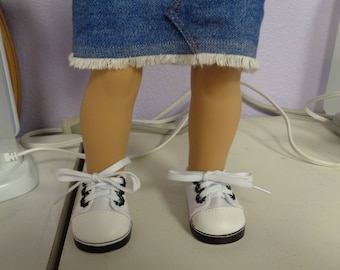 """Black White Canvas sneakers Tennis SHOES Fits 18"""" American Girl Dolls"""