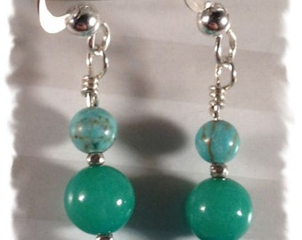 Blue-green Ombre Earrings--Blue and Green Jade, Turquoise and Sterling Silver--Free US Shipping