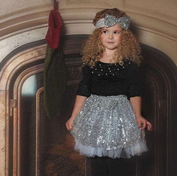 Girls Gold Silver Skirt Tutu Baby First Birthdaysilver Sequined SkirtFlower Girl Dress